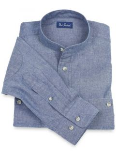 Paul Fredrick Mens Cotton Chambray Band Collar Sport Shirt