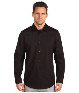 Calvin Klein L/S Non Iron Solid Stretch Sport Shirt Mens Long Sleeve Pullover (Black)