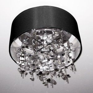Dainolite DAI PIC164FH PC BK Universal 4 Light Crystal Semi Flush Fixture  with