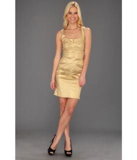 Nicole Miller Stretch Lam V Neck Tucked Dress Womens Dress (Gold)