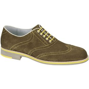 Johnston & Murphy Mens Ellington Wing Tip Khaki Shoes   20 6756