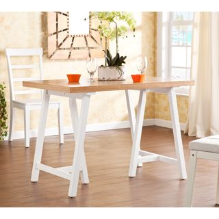 Upton Home Glenwest White And Natural Pine Dining Table (MulticoloredDurable construction features solid pine legsStable, visually appealing sawhorse formDistinctive grain patterns and colorations will vary table to tableBetween legs 15 inches highUnders