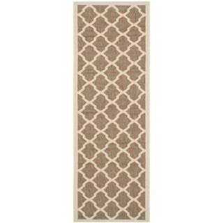 Safavieh Indoor/ Outdoor Courtyard Brown/ Bone Rug (23 X 67)