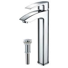Kraus FVS1810PU10CH Bathroom Faucet, Visio Single Lever Vessel Faucet w/ Matching Pop Up Drain Chrome