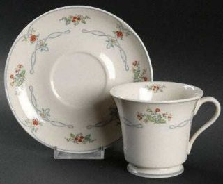 Gorham Ribbon Edge Footed Cup & Saucer Set, Fine China Dinnerware   Rust Flowers