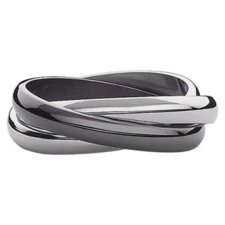 Stainless Steel 3 Band Ring Size 6   Black And White