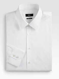 BOSS HUGO BOSS Gulio Broadcloth Dress Shirt   White