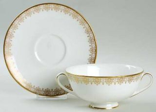 Royal Doulton Gold Lace Footed Cream Soup Bowl & Cup Saucer Set, Fine China Dinn