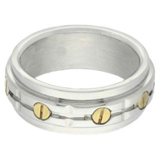 Stainless Steel Two Tone Mens Bolt Ring   Silver/Gold (Size 11)