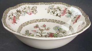 Johnson Brothers Indian Tree (Green Key, Cream) Square Cereal Bowl, Fine China D