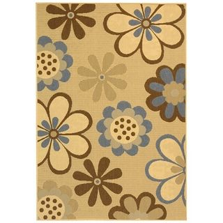 Safavieh Indoor/ Outdoor Courtyard Natural Brown/ Blue Rug (8 X 11)