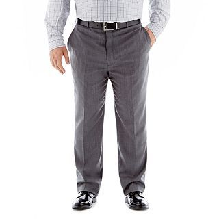 Stafford Super 100 Wool Suit Flat Front Suit Pants Portly, Grey, Mens