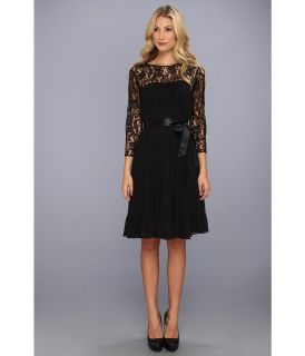 Adrianna Papell Lace Chiffon Flare Dress w/ Sash Womens Dress (Black)