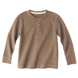 Cherokee Infant Toddler Boys Long Sleeve Thermal Henley Shirt   Mud Hut 4T