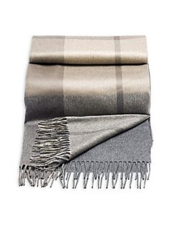 Brunello Cucinelli Cashmere Plaid Blanket   Grey Taupe