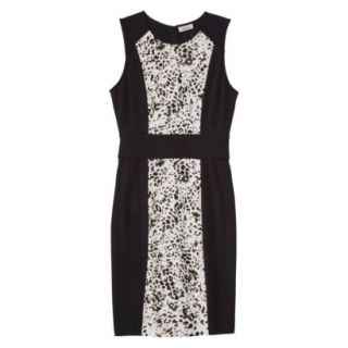 AMBAR Womens Ponte Leopard Print Dress   Ebony L