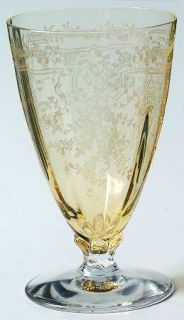 Fostoria June Topaz/Yellow Juice Glass   Stem #5098, Etch #279, Yellow