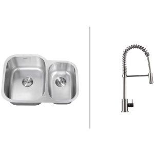 Ruvati RVC2501 Combo Stainless Steel Kitchen Sink and Chrome Faucet Set