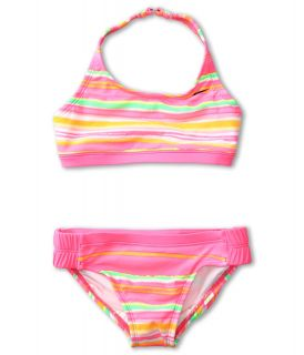 Nike Kids Tie Dye Stripe Halter 2 Piece Girls Swimwear Sets (Pink)