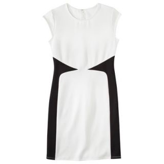 Mossimo Womens Colorblock Scuba Dress   White/Black XL