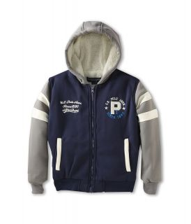 U.S. Polo Assn Kids Varsity Jacket with Attached Sherpa Lined Fleece Hood Boys Coat (Navy)