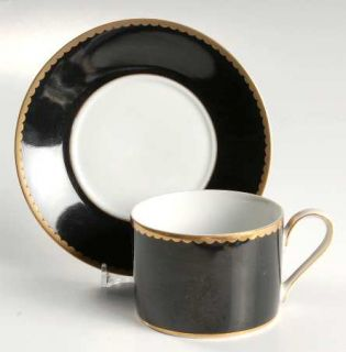 Mikasa Black Granite Black Border Flat Cup & Saucer Set, Fine China Dinnerware