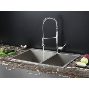 Ruvati RVC1401 Combo Stainless Steel Kitchen Sink and Chrome Faucet Set