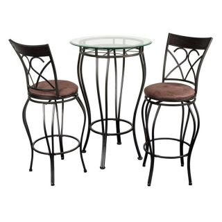Fancy Glass Top 3 Piece Pub Table Set Multicolor   FANCY BISTRO