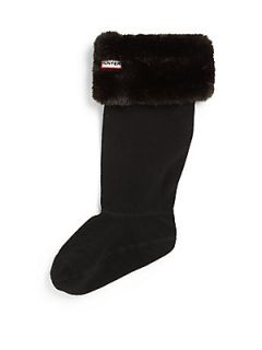 Hunter Faux Fur Cuff Welly Socks   Panther Black