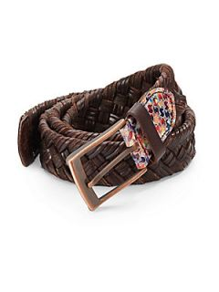 Weaver Braided Leather Belt   Brown