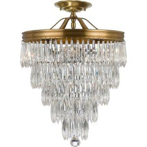 Crystorama Lighting CRY 120 AG CEILING Chloe Chloe 3 Light Brass Semi Flush