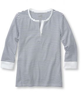 Double L Rib Knit Tee, Three Quarter Sleeve Henley, Stripe