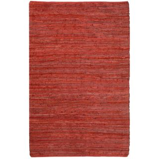 Hand woven Chindi Flat weave Leather Rug (5 x 8) (5 x 8 Natural Fiber)