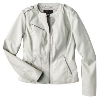 Mossimo Womens Faux Leather Jacket  Ivory XXL