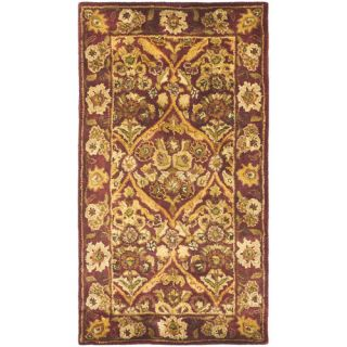 Safavieh Antiquities Garden Panel Wine/Gold Rug AT51A Rug Size Runner 23 x 4