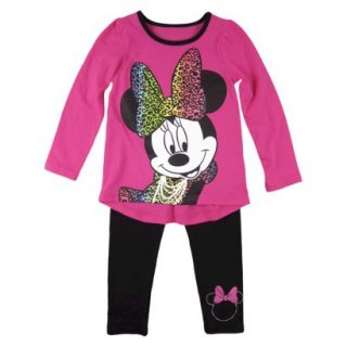 Disney Infant Toddler Girls Minnie Mouse Top and Bottom Set   Fuchsia 5T