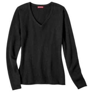 Merona Womens Cashmere Blend V Neck Pullover Sweater   Black   M
