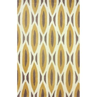 Nuloom Handmade Oblong Geometric Brown Rug (76 X 96)