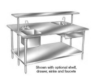 Advance Tabco 96 Work Table   Galvanized Frame, 48 W, 14 ga 304 Stainless