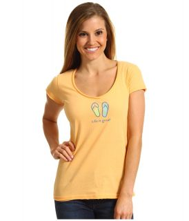 Life is good Flip Flop Crusher Lightweight Vee Womens T Shirt (Orange)