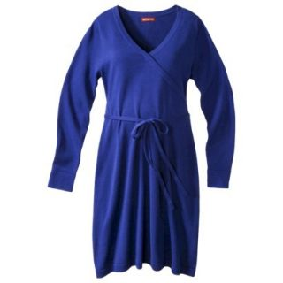 Merona Maternity Long Sleeve V Neck Sweater Dress   Blue S