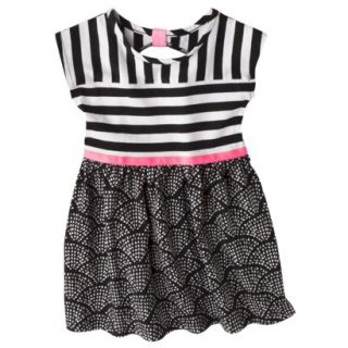 Circo Infant Toddler Girls Short Sleeve Striped Dress   Black/Pink 5T
