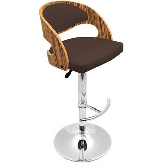Zebra Bent Wood Modern Barstool (Zebra wood, brown seatMaterials Wood, PU, foam padding, chromeHardware finish Chrome footrest, base and poleSeat dimensions 26 31 inches high x 18 inches wide x 16 inches deepDimensions 37 42 inches high x 19 inches wi