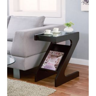 Furniture Of America Enzo Modern Black Tinted Tempered Glass Top Chairside end Table With Magazine Rack