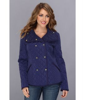 Jessica Simpson Quilted Double Breasted Coat Womens Coat (Navy)