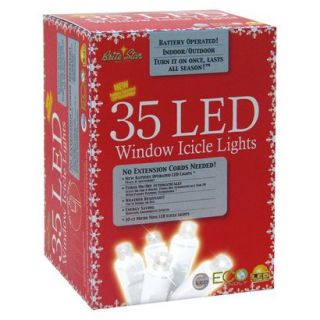 35ct White LED Battery Operated Icicle Lights