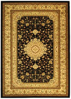Lyndhurst Collection Mashad Black/ivory Rug (8 X 11)