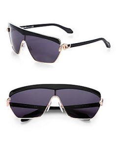 Roberto Cavalli Metal Shield Rectangular Sunglasses   Black