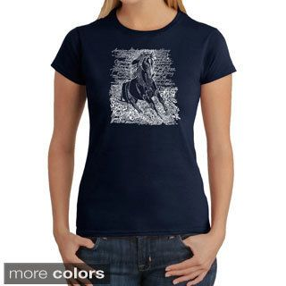 Los Angeles Pop Art Womens Horse Breeds T shirt (100 percent cotton Machine washableAll measurements are approximate and may vary by size. )