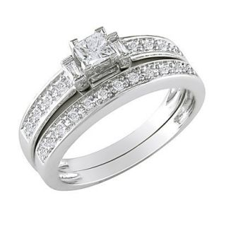10K White Gold Diamond Bridal Set Silver 7.0